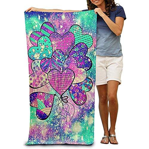 utong 100% Baumwolle Strandtücher 80x130cm Quick Dry Handtuch für Schwimmer Herz Regenbogen Ballon Stranddecke