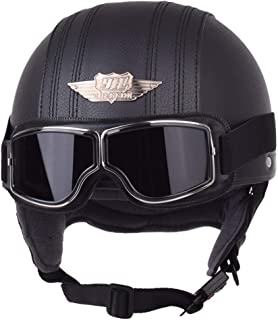 Y-Meinsolt Leather Motorcycle Helmet Retro Pilot Aviator Scooter Vintage Half Helmets Casque Moto Casco with A121 Goggles