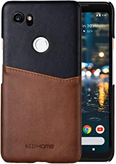 Pixel 2 XL Case,Two-Tone Vintage Insert Card Genuine Leather Back Cover for Google Pixel 2 XL (Black)