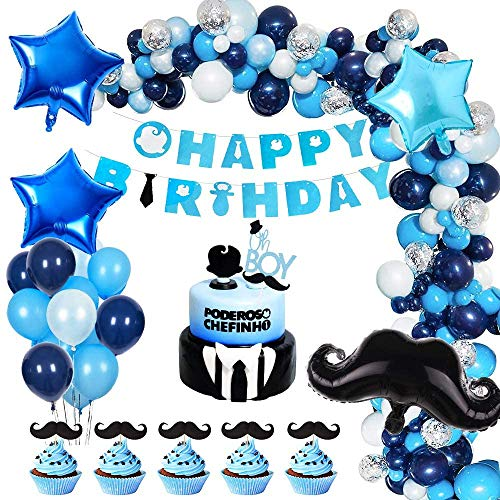 Boys Birthday Party Decorations, Sea Green and Blue Party Balloons with Happy Birthday Banner and Cake Topper, Mustache Party Supplies for Baby Boys Children Carnival Baby Shower Birthday