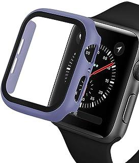 ZAALFC Caso + Vidrio para Apple Watch 44mm 40 mm Mate plástico Parachoques 42mm 38mm Marco Duro Cubierta Completa para iWa...