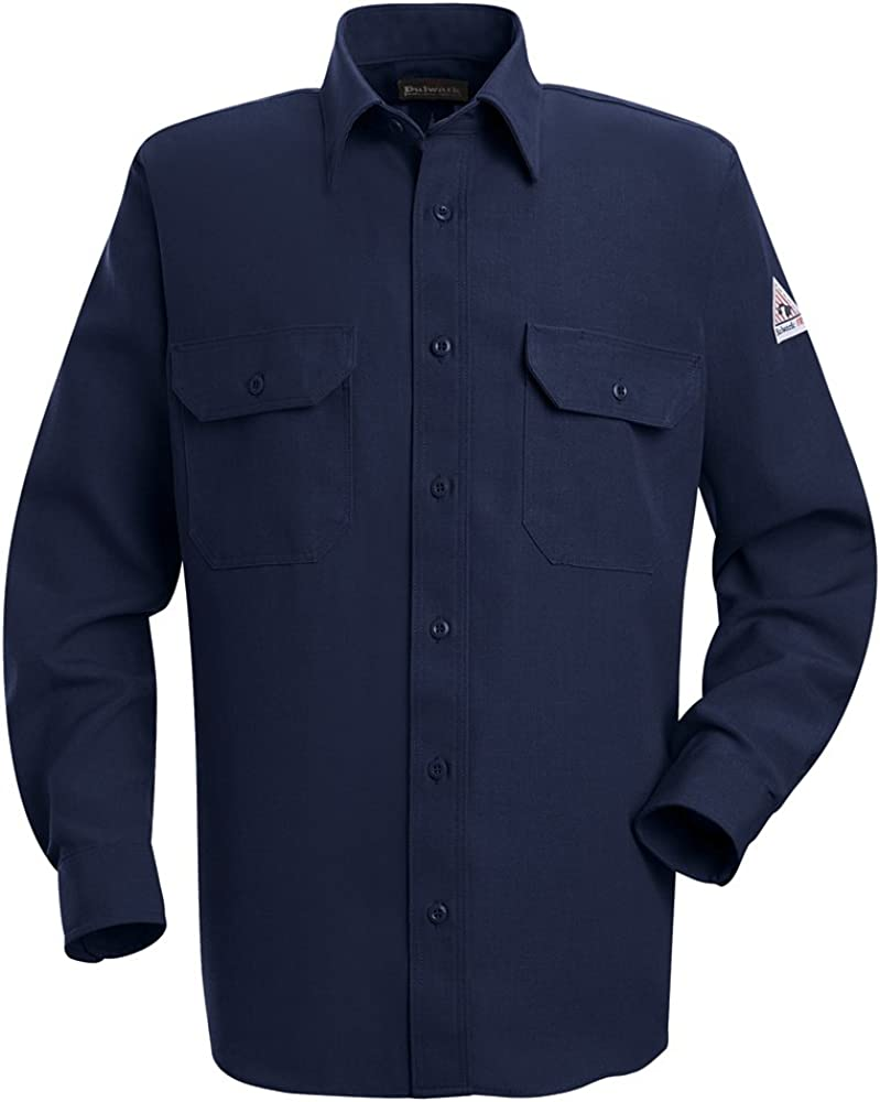 Bulwark Shirts UniformTops Flame-Resistant Button Front Shirt SND2 NV-Long-Blue