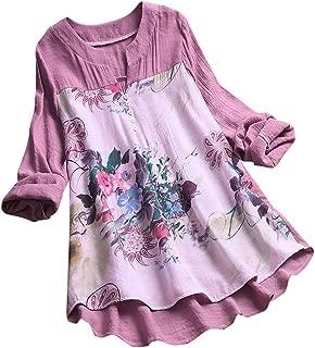 Women Long Sleeve Blouse T-Shirt ❀ Ladies Vintage V-Neck Floral Printing Patch Long Tops Plus Size Casual Fashion Mini Dress Tops