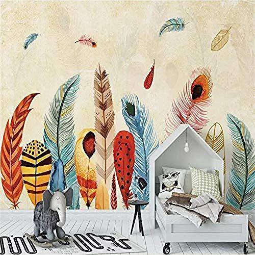 XHXI Moderno minimalista colorido pluma arte impresión de gran tamaño foto papel tapiz carteles deco Pared Pintado Papel tapiz 3D Decoración dormitorio Fotomural sala sofá pared mural-300cm×210cm