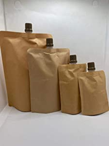 Santmira Kraft Brown Spouted Stand Up Pouch Liquid Bag ~ Pack of 50~80 x 110 mm - 2 oz/ 50 ml ~ Ideal For Beverage Liquid Juice Milk Coffee ~ Food Grade