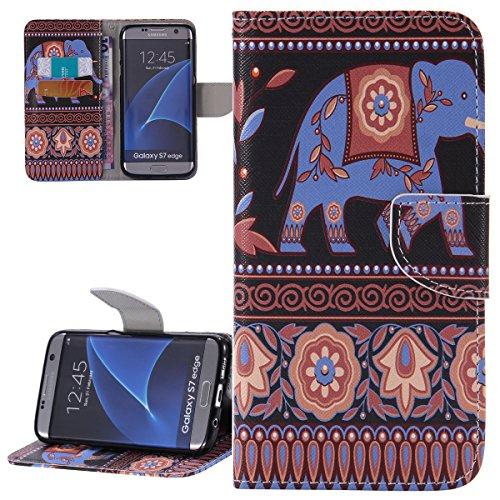 ISAKEN Custodia Samsung Galaxy S7 Edge, Samsung Galaxy S7 Edge Cover, Elegante borsa Drawing Pattern Design Custodia in Pelle Protettiva Flip Portafoglio Case Cover con Supporto di Stand / Carte Slot / Chiusura Magnetica per Galaxy S7 Edge - tribal stripes elefante blu
