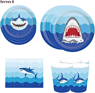 """LJCL Shark Theme Party Supplies – Serves 8 – Includes Plates7"""" and 9"""",Each 8pcs, Cups and Napkins. Shark Birthday Party Pack for Kids,Boys,Girls Ocean, Summer Pool and Shark Parties Decor Favor"""