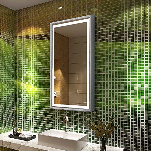 Badspiegel Schminkspiegel Tonffi Spiegelbeleuchtung Spiegel mit Beleuchtung LED (Aluminium silberne Rahmen, 450 * 800 * 40MM, 20W)