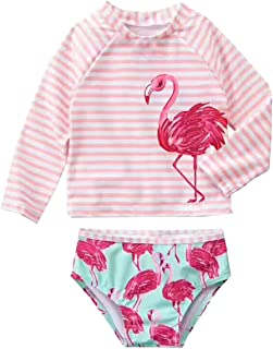 eKooBee Infant Baby Girls Flamingo Rash Guard Sets Girl Stripe Swimwear Long Sleeve Swimsuit UPF50+