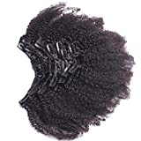 Afro Kinky Curly Clip In Human Hair Extensions Mongolian Virgin Human Hair African American Clip In Extensions16' Clip Ins 120gram/set,7pcs