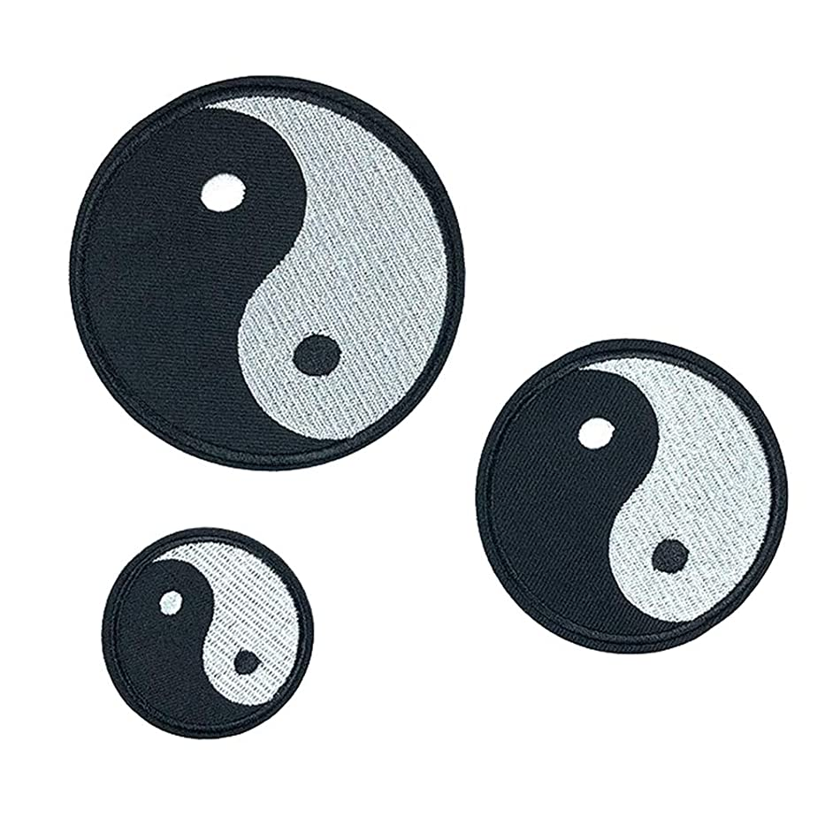 3 Pcs Chinese Tai Chi Iron On Sew On Embroidered Patch, Applique Patch, Cool Patches for Men, Women, Boys, Girls, Kids