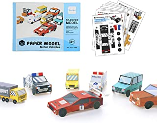 Youwo Car Origami Craft Folded Paper Toy Kit 3D Paper Model Fold Your own Vehicle,Trucks, Police Cars Ambulances and Buses
