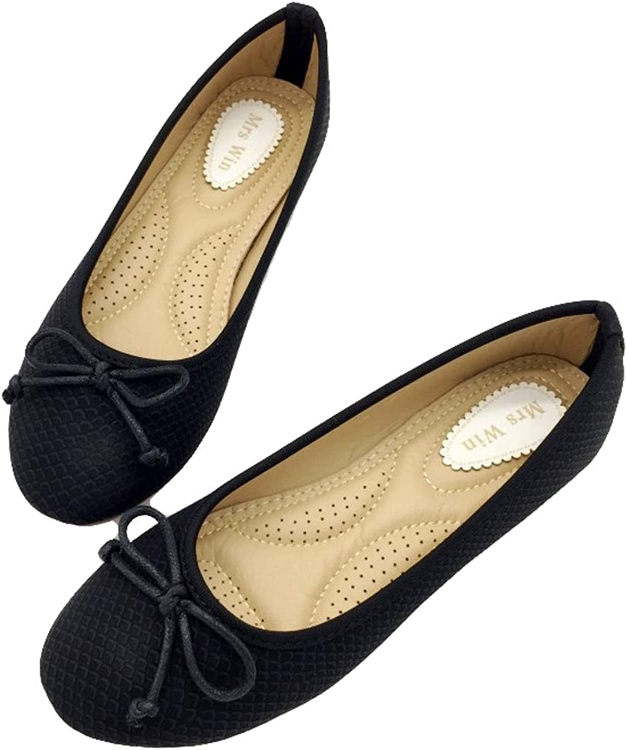 Owen Moll Women Flats, Black Beige Ballet Loafers Slip-On Round Toe Single Work shoes