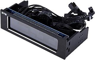Tonysa STW 5043 3Pin + 4Pin Controlador Ventilador PC a Las 4 Fan, Controladores de Velocidad/Temperatura Ajuste Manual/Automático Panel Frontal LCD