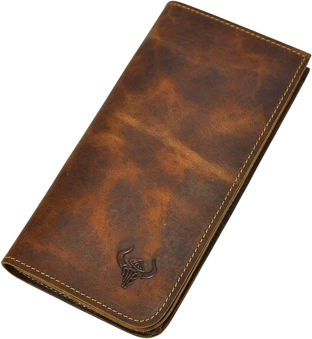 Le'aokuu Mens Real Leather Bifold Organizer Checkbook Wallet Cas