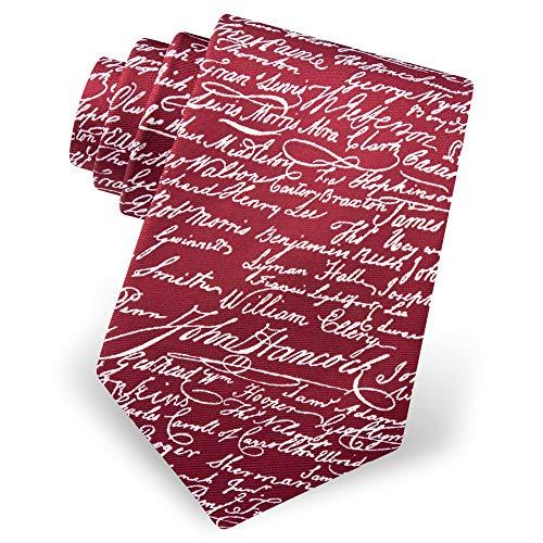 Men's 100% Silk Red USA Declaration Of Independence Signatures Necktie Tie