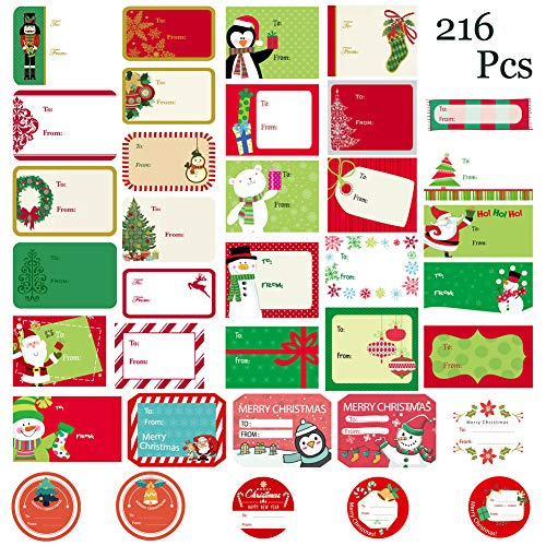 WESJOY Christmas Self Adhesive Name Labels Gift Wrap Tags Stickers Santa Snowmen Xmas Tree Deer Designs Holiday Decorative Presents Labels 216 Pcs