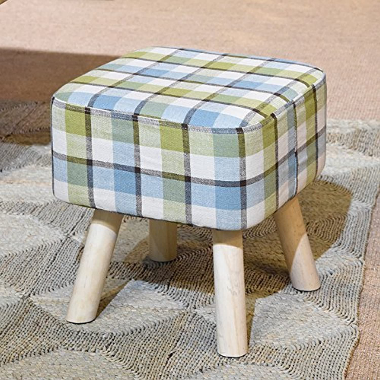 Solid Wood shoes Bench Creative Sofa Stool Fabric Stool Home Stool High Stool Multifunctional Stool 0522A (color   Green)
