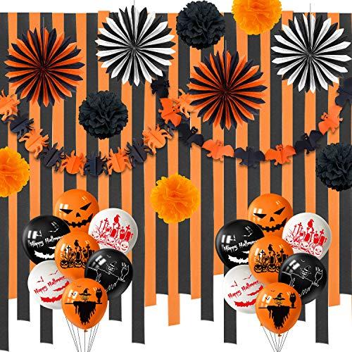 TUPARKA 63Pcs Set de Decoraciones de Halloween, Globos de Halloween Fans de Papel Crepe Serpentinas Papel de Seda Negro Naranja Poms y Bat Banner Guirnalda para de Halloween Suministros para Fiestas