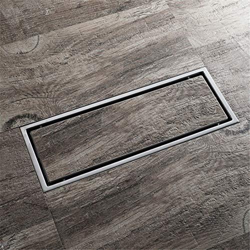 DYecHenG Bodenablauf 2-Wege-Installation Edelstahl Bad Linear Bodenablauf Flieseneinsatz Rechteckigen Duschbodenablauf Anti-Blocking für Badezimmer Toilette Küche (Color : Silver, Size : 300 * 110MM)