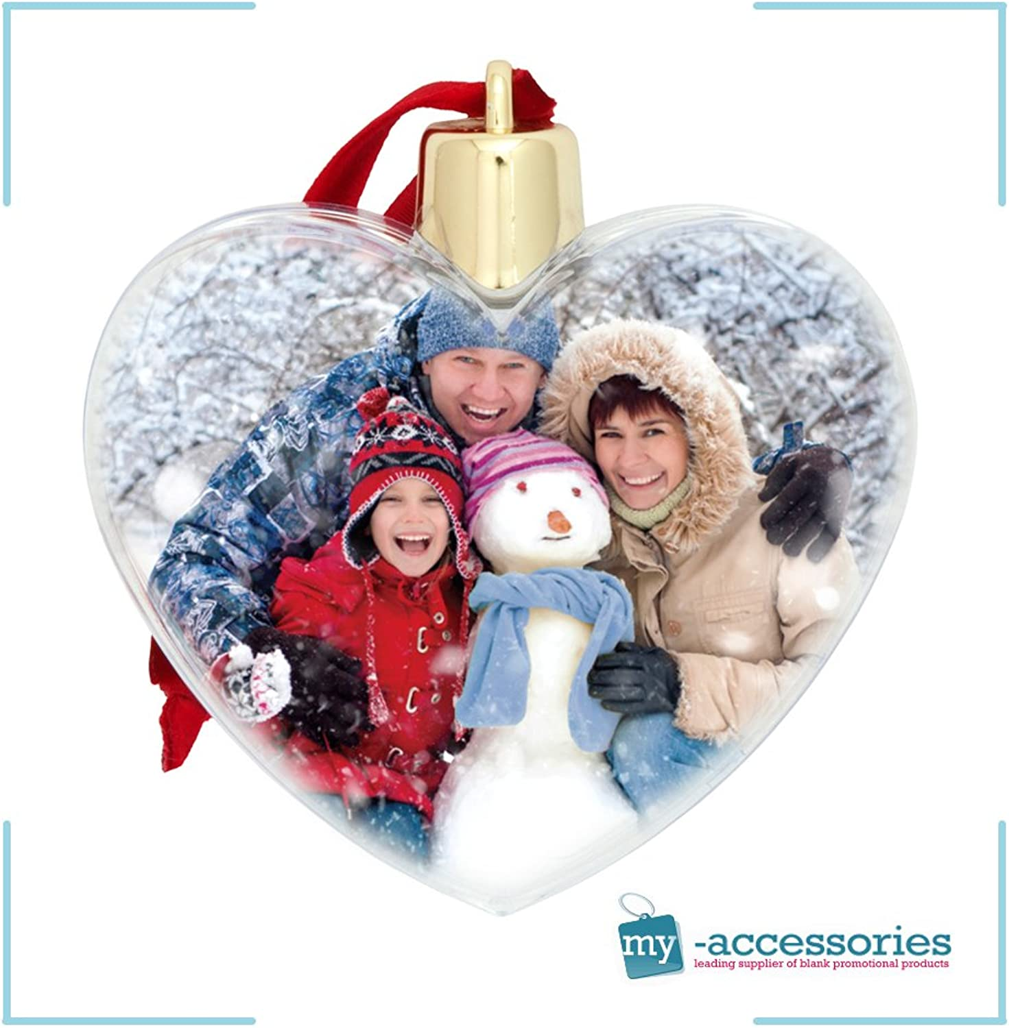 Christmas Heart Photo Tree Ornament. Make your own, holds 2 photos