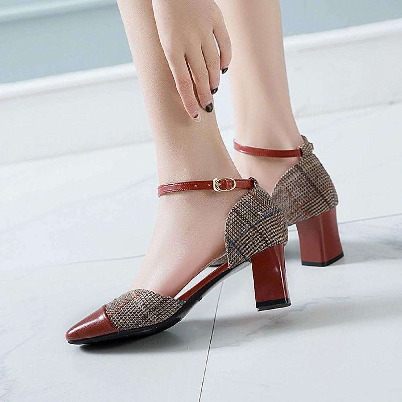 UKJSNHH igh Heels Woman Sandals Jacquard Fabric Ankle Strap High Heels Women Dress shoes Plaid Pumps Square Heeled Ladies shoes