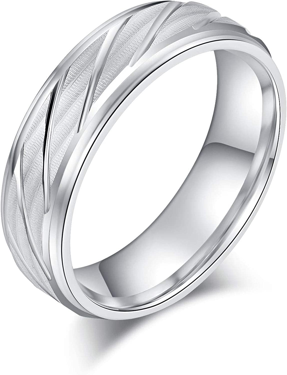 6mm Unisex Comfort Fit Direct stock discount Sterling Silver Finish and Li Matte Waves 25% OFF