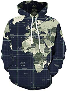 Fashion Plus Size Men's Cool 3D Map Printed Jacket Long Sleeve Hooded Casual Coat Hoodie Blouse Tops
