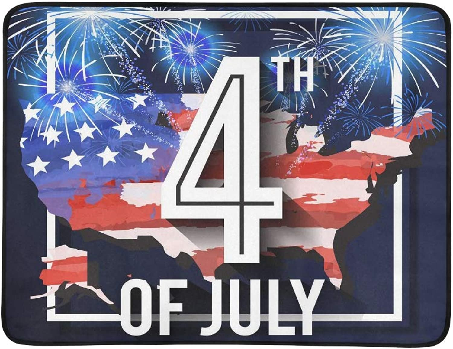 American USA Flag Map Th of July Pattern Portable and Foldable Blanket Mat 60x78 Inch Handy Mat for Camping Picnic Beach Indoor Outdoor Travel