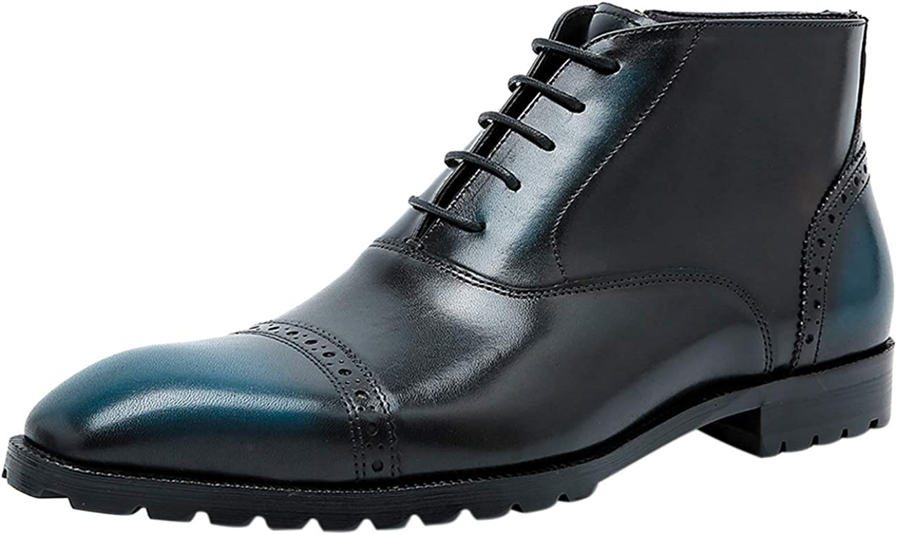 Men Leather Lace-up Oxford Boots Fashion Cap Toe Brogue Wing tip Formal Ankle Dress Boot Black Brown