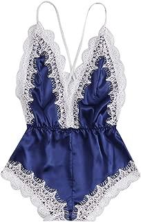 TIANMI Fashion Sissy Women Sexy Lingerie Girl V-Neck Lace Splice Bodysuit Sleepwear,Teddy Lingerie Mini Bodysuit