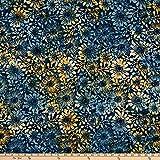 Benartex 0664841 Bali Eden Batik Flowerbed Indigo Fabric
