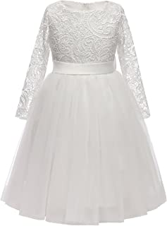 ABAO SISTER Flower Girl Dress Long Sleeves Lace Top Tulle Skirt Girls Lace Party Dresses