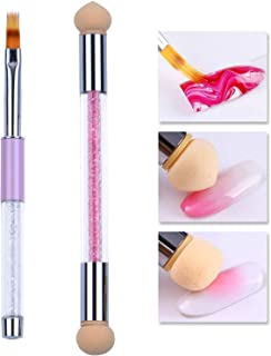 Ycyan 2Pcs Nail Art Brush Set, Rhinestone Handle UV Gel Nail Ombre Brush and Double-ended Gradient Shading Sponge Pen for Gel Nails
