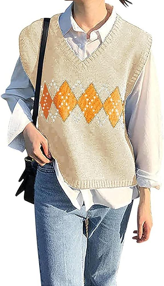 BZB Women's V Neck Sweater Vest Argyle Plaid Knit Casual Sleeveless Crop Sweater Tank Top Apricot