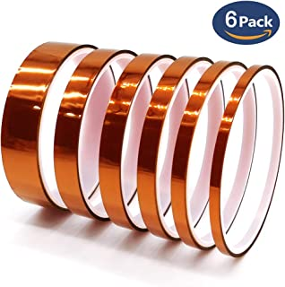 耐熱テープ、Horyku高温テープ ポリイミド粘着テープ 絶縁耐熱テープ カプトン テープ 接着剤テープ 昇華テープ 電子基板 の マスキング 保護 機械設備などに適用 6枚セット(0.4/0.6/0.8/1/1.2/2 cm*10m)