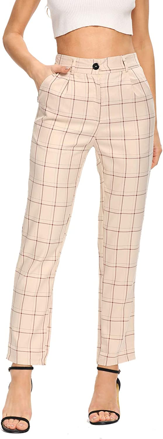 BROVAVE Women's Plaid Pants Skinny Slim Fit Elastic Waist Casual Work Pants with Pockets