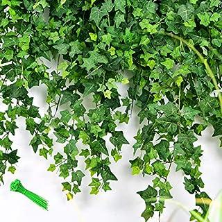 MerryNine 24PCS約50m人工アイビーリーフガーランド植物つるアイビーガーランド結婚式/家庭菜園/庭/オフィス/結婚式の壁の装飾用の人工吊り葉ガーランド(2.1m * 24PCS)
