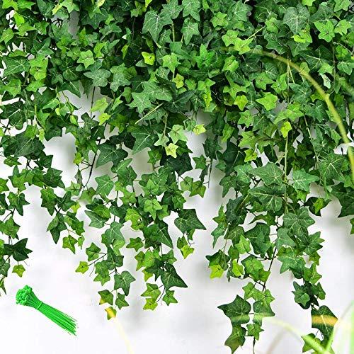 MerryNine 168 Ft-24 Pack Artificial Ivy Leaf Garland Plants Vine ivy garland artificial hanging leaf garland for Wedding/Home Kitchen/Garden/Office/Wedding Wall Decor (168 Feet)