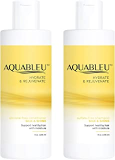 Aquableu Silk & Shine Shampoo & Conditioner Set– Moisturizing & Hydrating - Natural Advanced Anti Frizz Formula for Coarse & Curly Hair - Silk Amino Acids & Jojoba Oil - Sulfate & Paraben Free (8 oz)