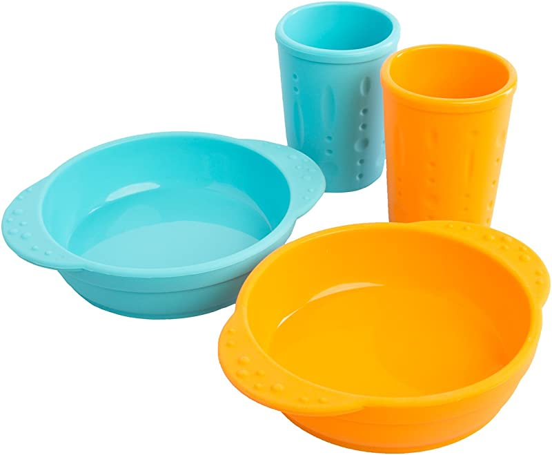 Kinderville 4 Piece Set Toddlers Kids Cups Kid Bowls Dishwasher Microwave Safe BPA Free Silicone