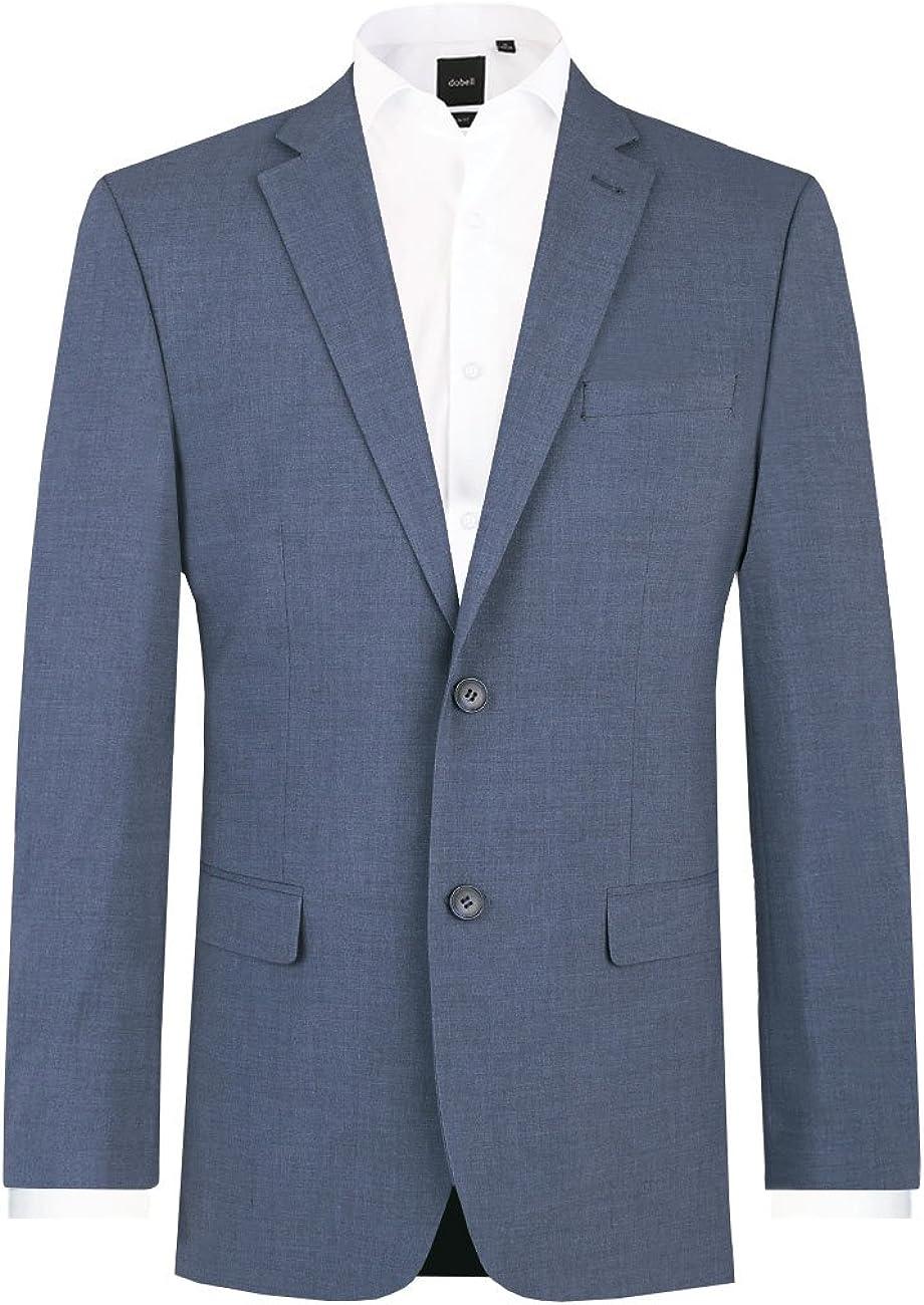 Dobell Mens Mississippi Blue Suit Jacket Regular Fit Notch Lapel