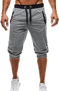 Yying Hombre Verano Pantalones Cortos - Moda Cintura Media Slim Fit Pantalón de Chándal Stretch Casuales Pantalones para J...