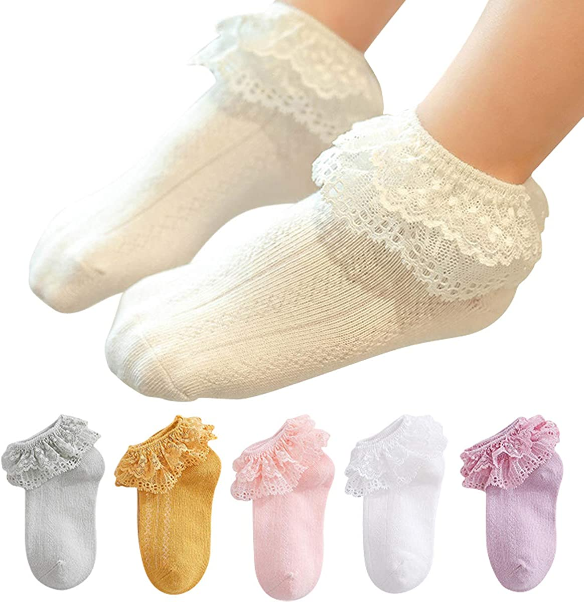 vanberfia Summer Ruffles Lace Frilly Socks for Newborn Infant Toddler Baby Girls
