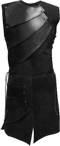 Andracor - Lederrüstung Bogenschütze - Leichte Echtlederrüstung für LARP, Verkleidung & Mittelalter Schwarz- M L