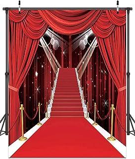Hollywood Themen Party Dekorationen, Fotohintergrund mit rotem Teppich, Vinyl, Fotohintergrund für Hochzeit, Geburtstag, Party, Dekoration, Red Carpet, 5′x7′