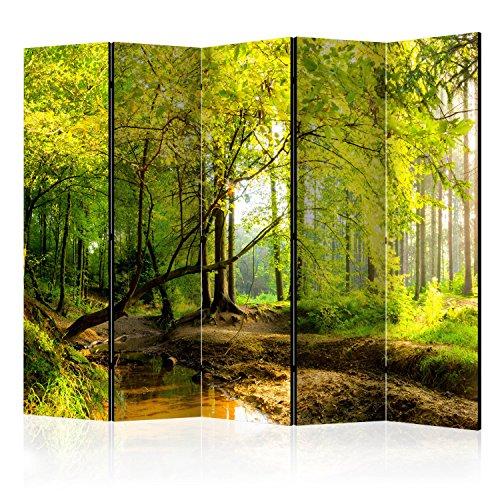 murando Raumteiler Foto Paravent Natur 225x172 cm beidseitig auf Vlies-Leinwand Bedruckt Trennwand Spanische Wand Sichtschutz Raumtrenner Home Office Wald c-B-0354-z-c