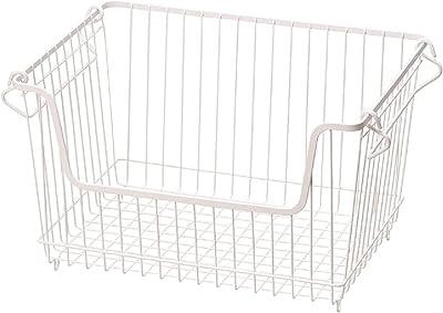 パール金属 ワイヤー 積み重ね バスケット Lサイズ スキット HB-5071 ホワイト