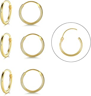 Silver Hoop Earrings- 3 Pairs Sterling Silver Endless Small Hoop Earrings Set for Women Men Girls Hypoallergenic Cartilage Earring Tragus Piercing Nose Lip Rings(8mm/10mm/12mm)