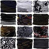 DEMIL Multifunctional Sports Stretchable Seamless Casual Headband Sweatband Magic Camo Scarf Balaclava Headwear Head Wrap (12PCS-Grey Series2)